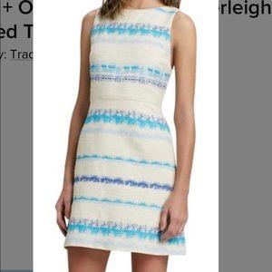 Alice + Olivia Everly tweed striped cream dress